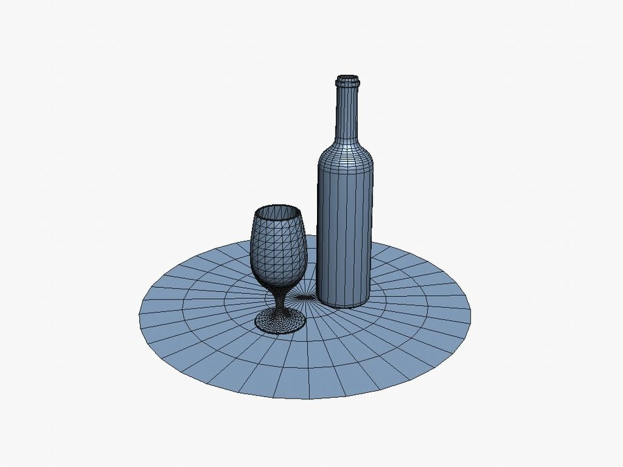 Wijnfles & glas royalty-free 3d model - Preview no. 6