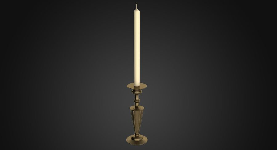 Antique Bronze Candle Holder royalty-free 3d model - Preview no. 3