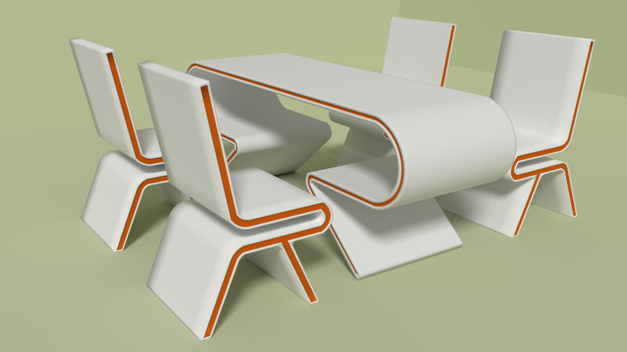 Modern Table and Chairs royalty-free 3d model - Preview no. 1