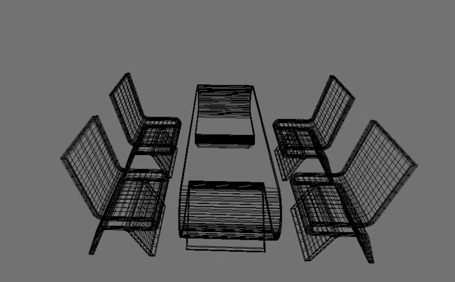 Modern Table and Chairs royalty-free 3d model - Preview no. 9