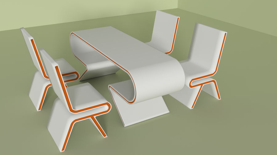 Modern Table and Chairs royalty-free 3d model - Preview no. 2