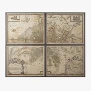 Sprzęt do renowacji 1672 Mapa czteropanelowa Plan de Paris 3d model