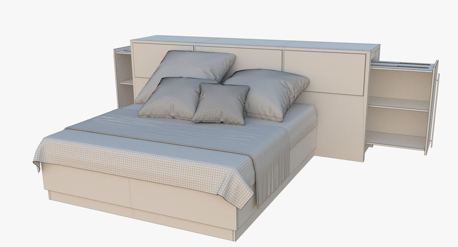 Kingsize bed twee royalty-free 3d model - Preview no. 9