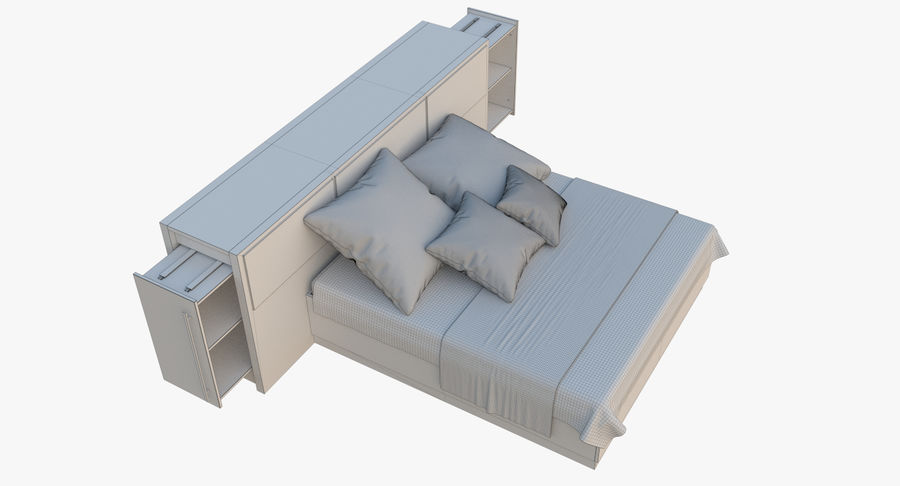 Kingsize bed twee royalty-free 3d model - Preview no. 10