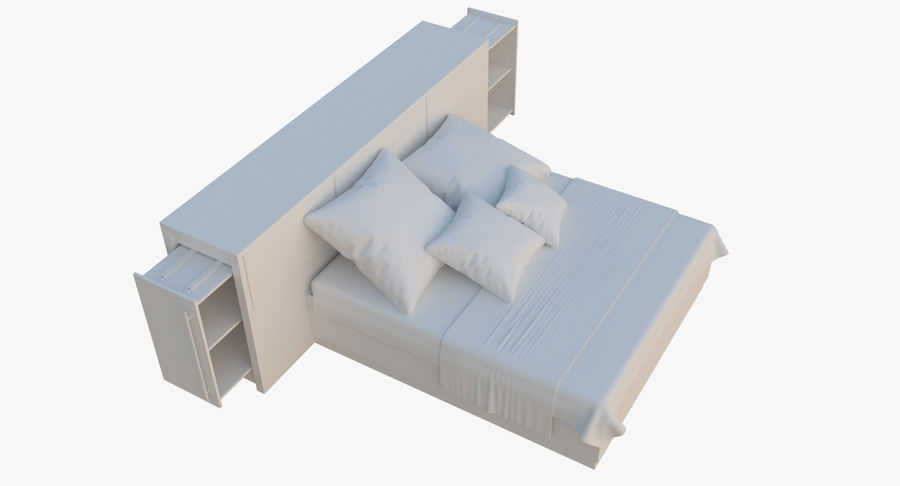Kingsize bed twee royalty-free 3d model - Preview no. 4