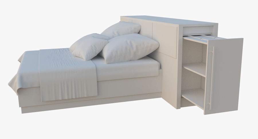 Kingsize bed twee royalty-free 3d model - Preview no. 6