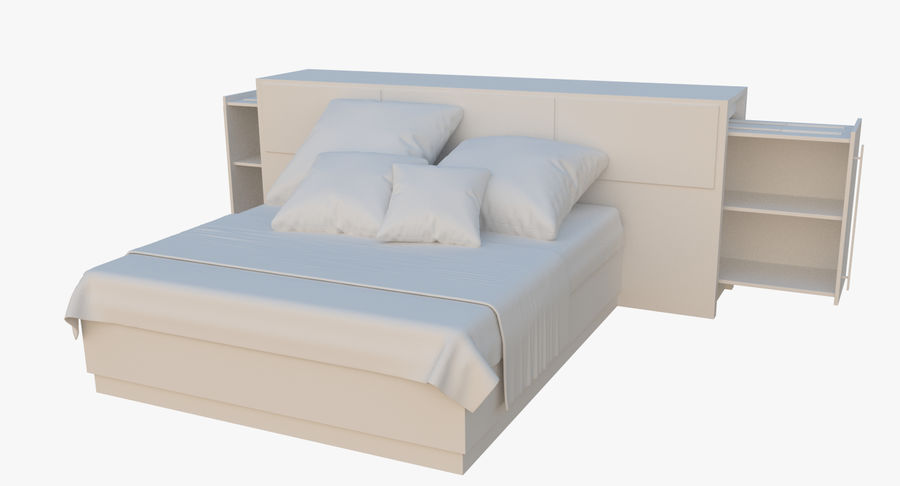 Kingsize bed twee royalty-free 3d model - Preview no. 3