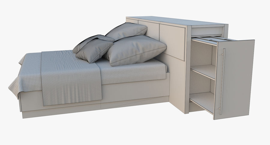 Kingsize bed twee royalty-free 3d model - Preview no. 12