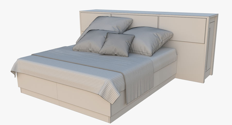 Kingsize bed twee royalty-free 3d model - Preview no. 8