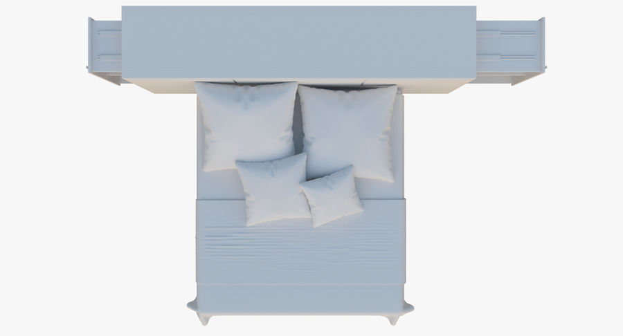 Kingsize bed twee royalty-free 3d model - Preview no. 7