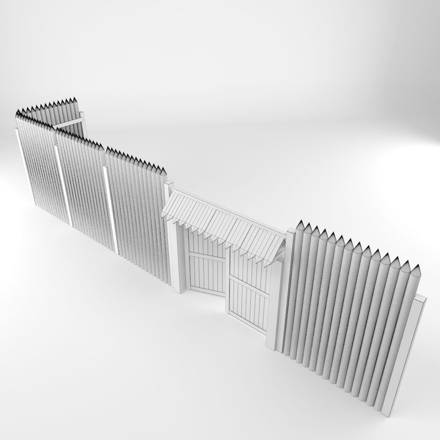 Cerca de madeira royalty-free 3d model - Preview no. 8