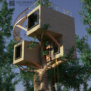 Treehouse modernt 3d model