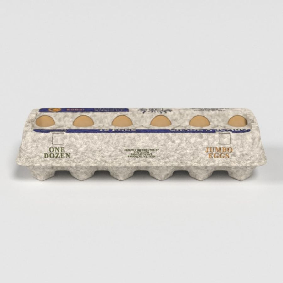 Karton Jajka Żywnościowego royalty-free 3d model - Preview no. 13