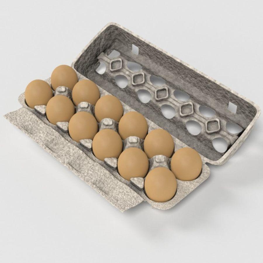 Karton Jajka Żywnościowego royalty-free 3d model - Preview no. 1