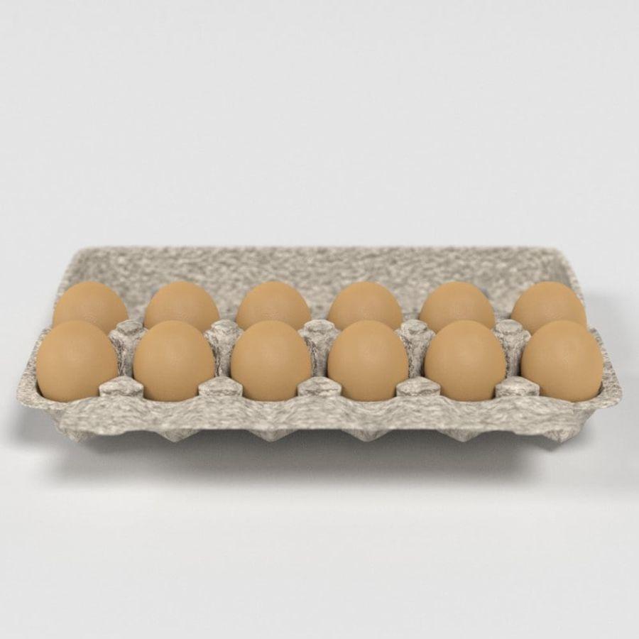 Karton Jajka Żywnościowego royalty-free 3d model - Preview no. 9