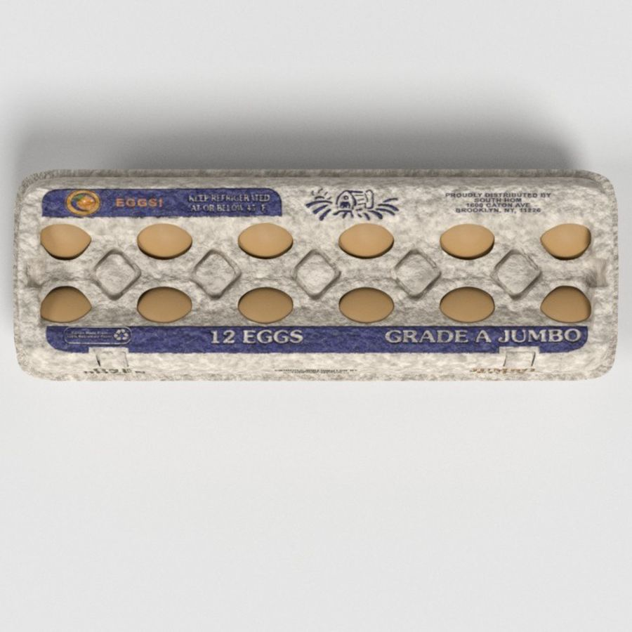 Food Egg Carton royalty-free 3d model - Preview no. 3