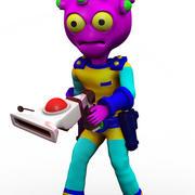 Pink Alien Cartoon 3d model