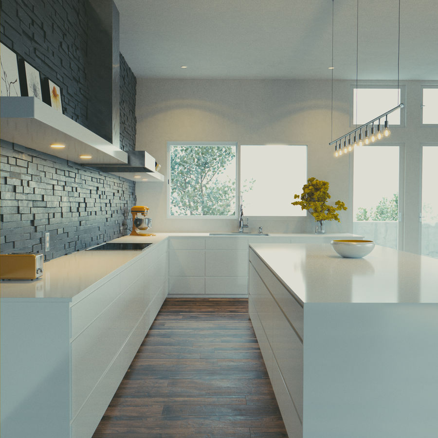 cocina moderna royalty-free modelo 3d - Preview no. 1