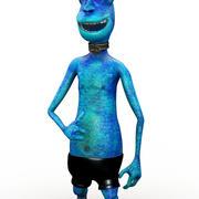 Blue Alien Cartoon 3d model