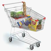 Carro de compras con comida modelo 3d