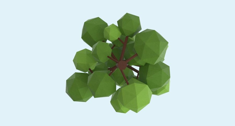 低聚绿叶树1 royalty-free 3d model - Preview no. 10