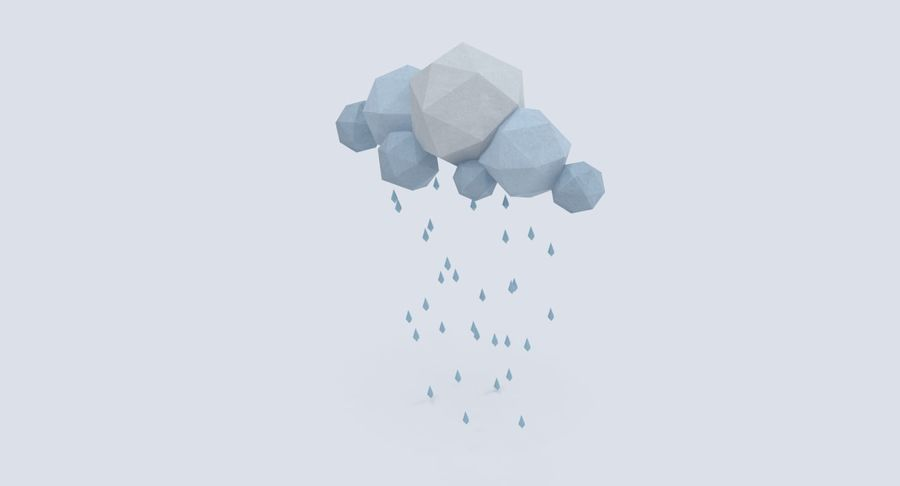 Nube de tormenta de baja poli 3 royalty-free modelo 3d - Preview no. 5