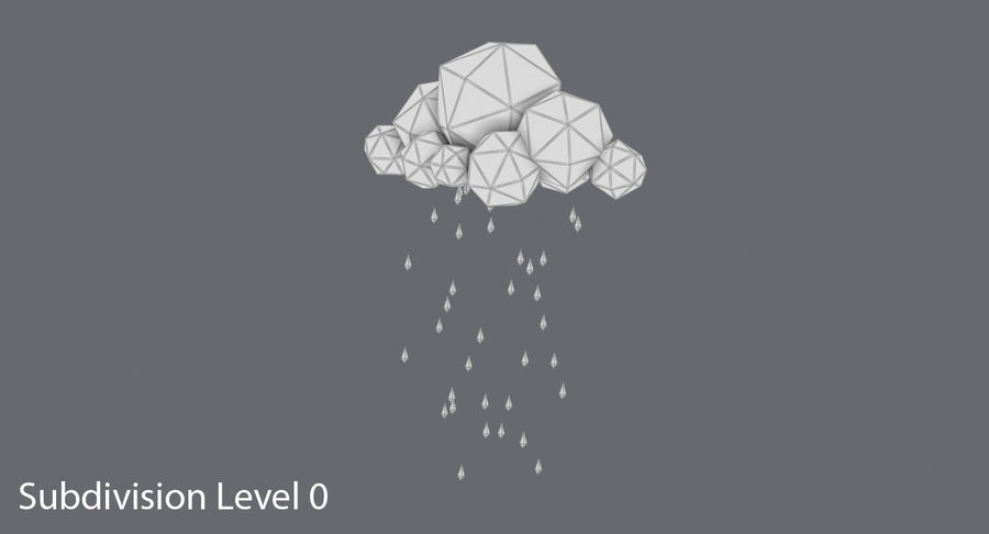 Nube de tormenta de baja poli 3 royalty-free modelo 3d - Preview no. 12