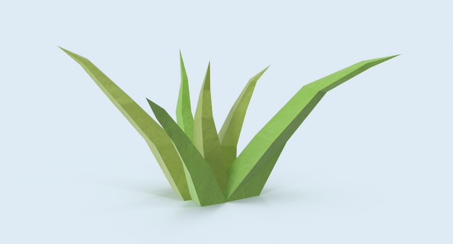 Low Poly Grass Small royalty-free 3d model - Preview no. 3