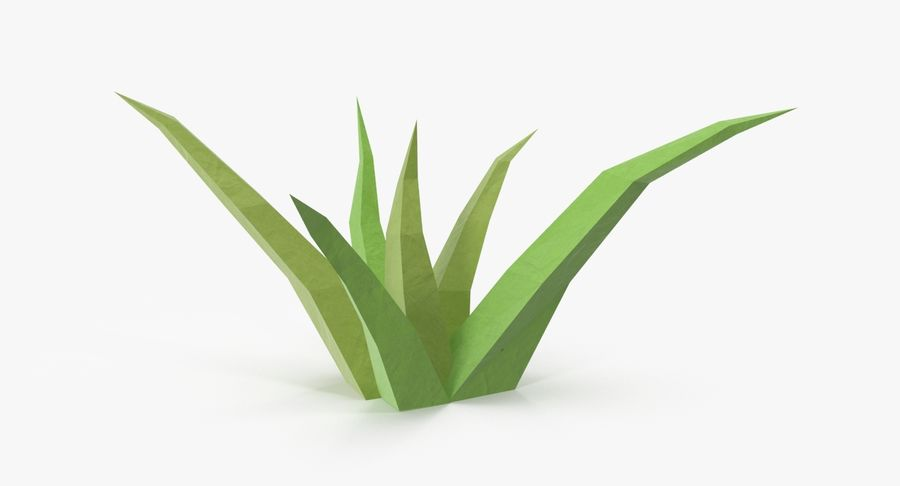 Low Poly Grass Small royalty-free 3d model - Preview no. 2