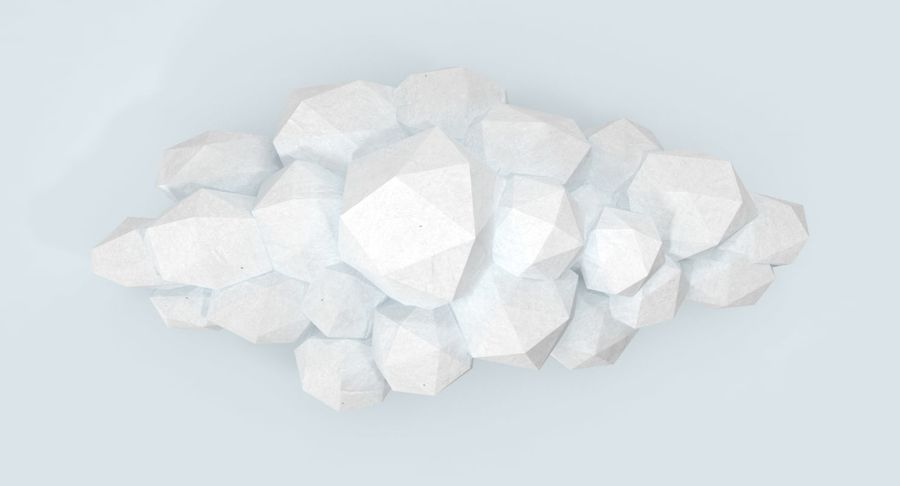 Nuage blanc bas poly 2 royalty-free 3d model - Preview no. 9