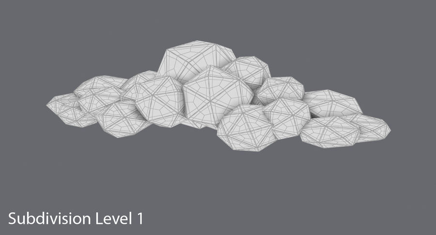Nuage blanc bas poly 2 royalty-free 3d model - Preview no. 13