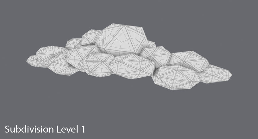 Nuage blanc bas poly 2 royalty-free 3d model - Preview no. 15