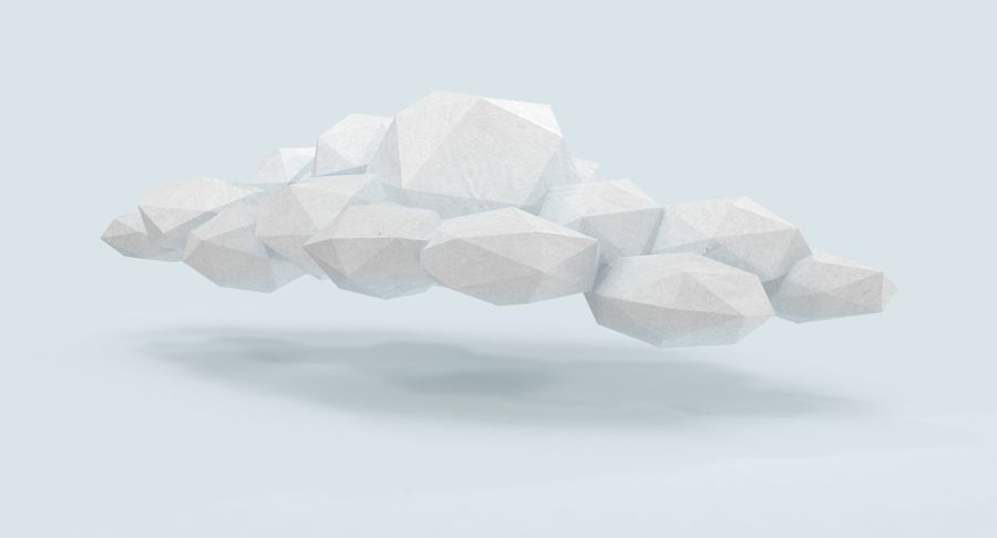 Nuage blanc bas poly 2 royalty-free 3d model - Preview no. 4