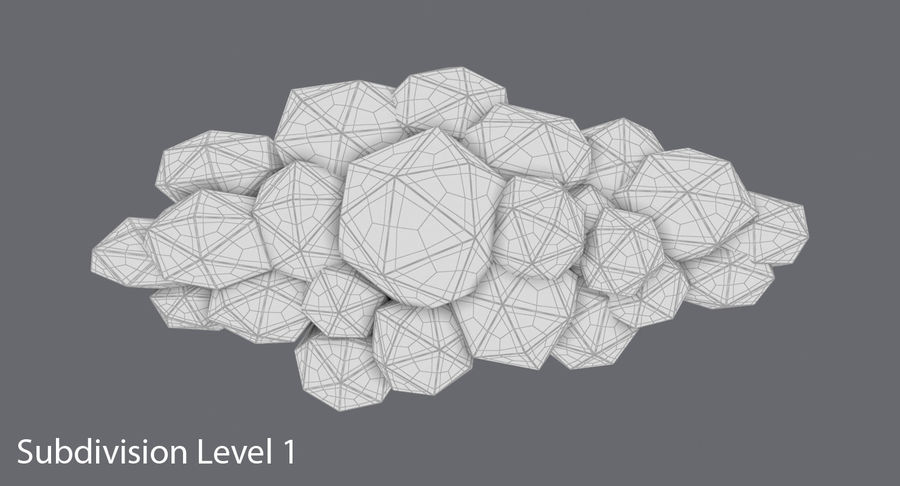 Nuage blanc bas poly 2 royalty-free 3d model - Preview no. 17