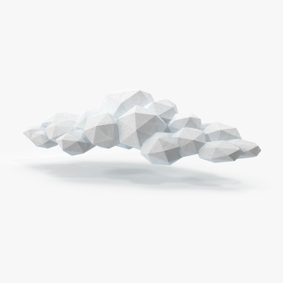 Nuage blanc bas poly 2 royalty-free 3d model - Preview no. 1