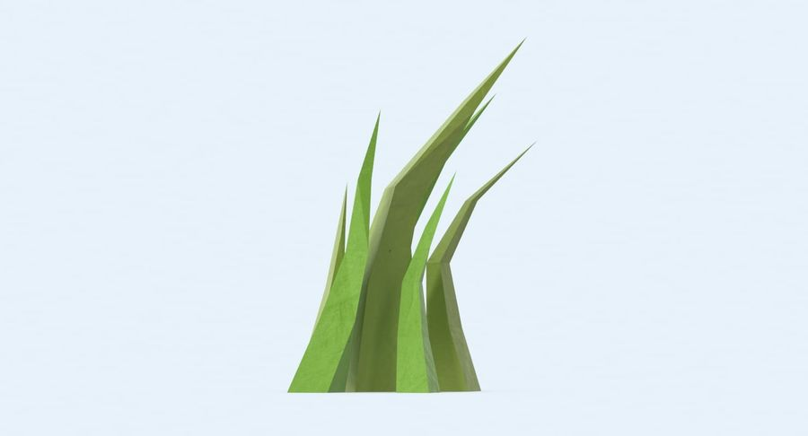 Low Poly Grass Medium royalty-free 3d model - Preview no. 5