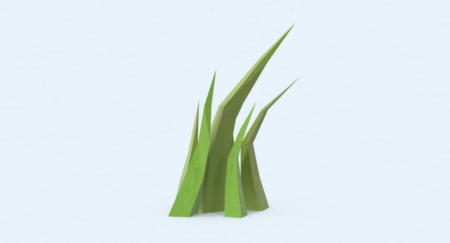 Low Poly Grass Medium royalty-free 3d model - Preview no. 3