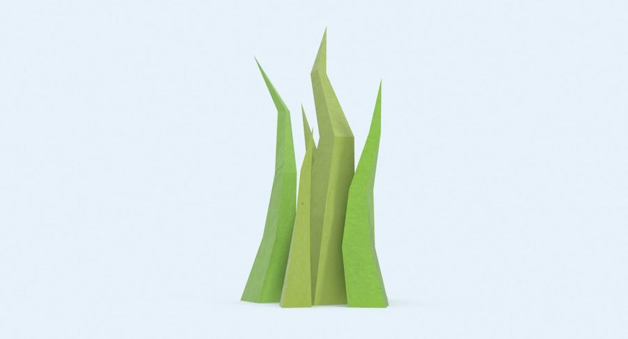 Low Poly Grass Medium royalty-free 3d model - Preview no. 6