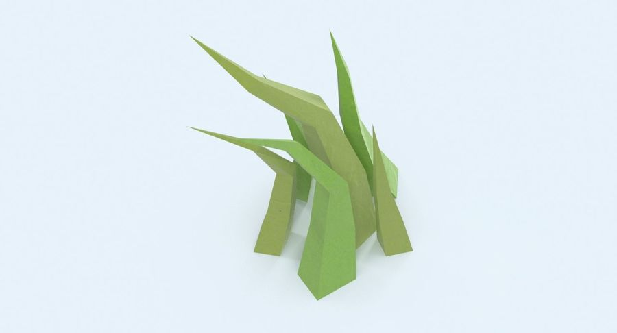 Low Poly Grass Medium royalty-free 3d model - Preview no. 7