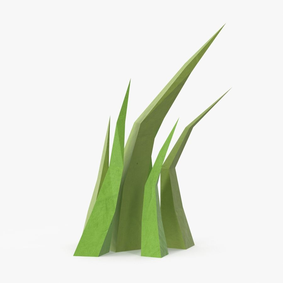 Low Poly Grass Medium royalty-free 3d model - Preview no. 1