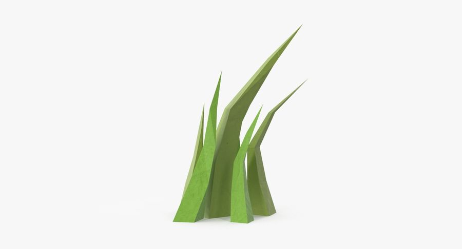 Low Poly Grass Medium 02 royalty-free 3d model - Preview no. 2