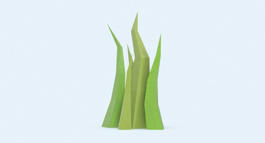 Low Poly Grass Medium 02 royalty-free 3d model - Preview no. 6