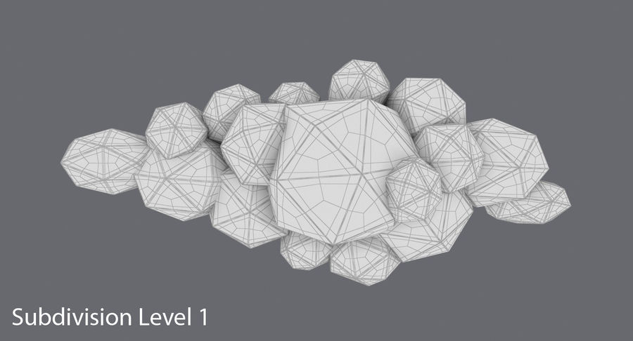 Nuage blanc bas poly 1 royalty-free 3d model - Preview no. 15