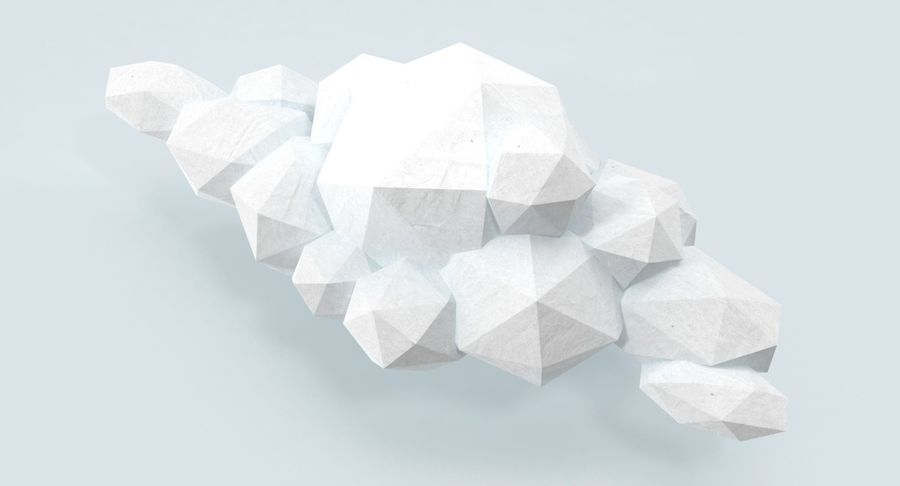 Nuage blanc bas poly 1 royalty-free 3d model - Preview no. 7
