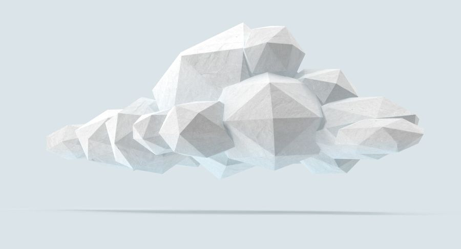 Nuage blanc bas poly 1 royalty-free 3d model - Preview no. 6