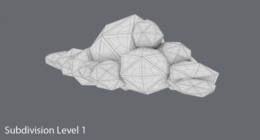 Nuage blanc bas poly 1 royalty-free 3d model - Preview no. 13