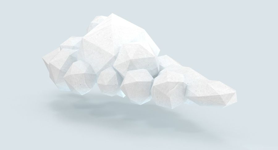 Nuage blanc bas poly 1 royalty-free 3d model - Preview no. 4