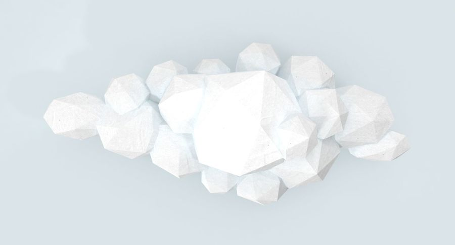 Nuage blanc bas poly 1 royalty-free 3d model - Preview no. 10