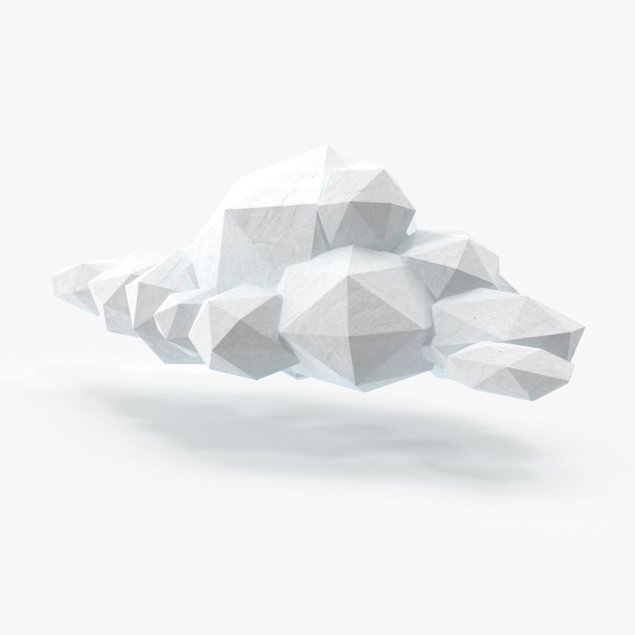 Nuage blanc bas poly 1 royalty-free 3d model - Preview no. 1