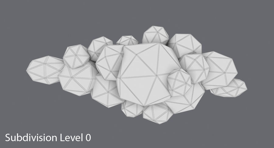 Nuage blanc bas poly 1 royalty-free 3d model - Preview no. 14